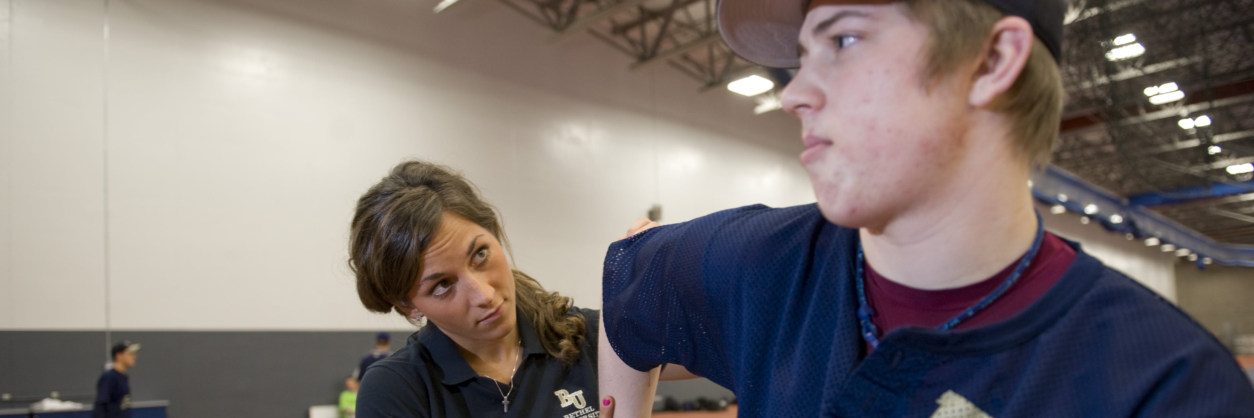 Student practicing athletic training