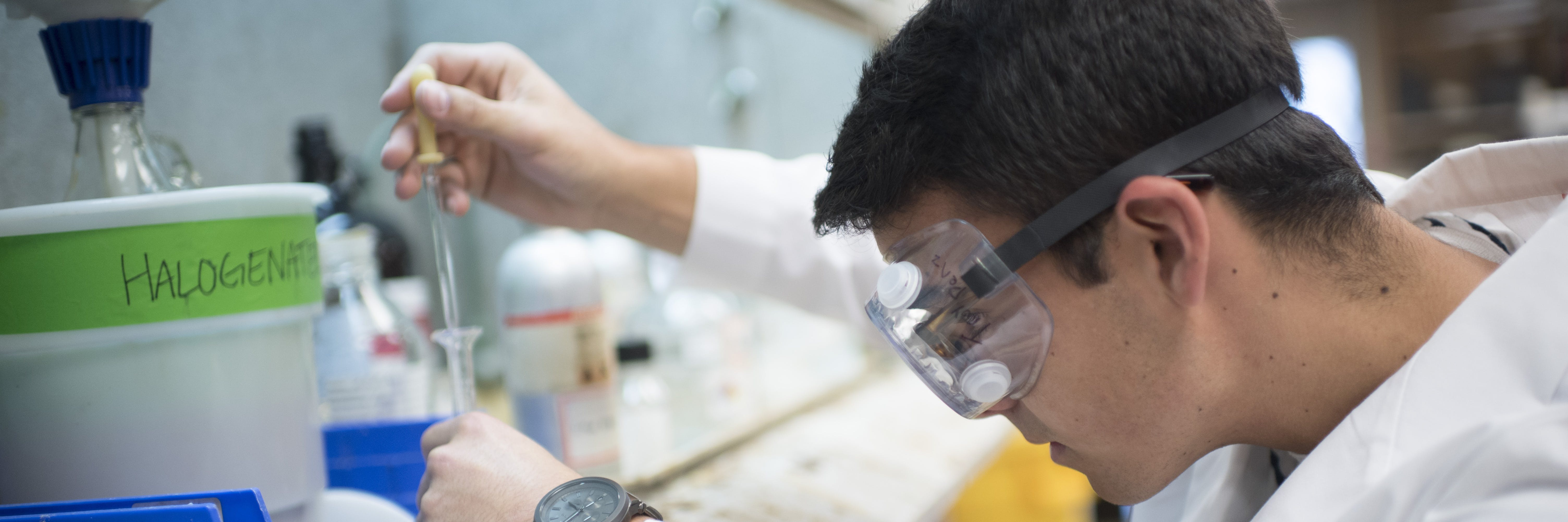 A student working in the lab