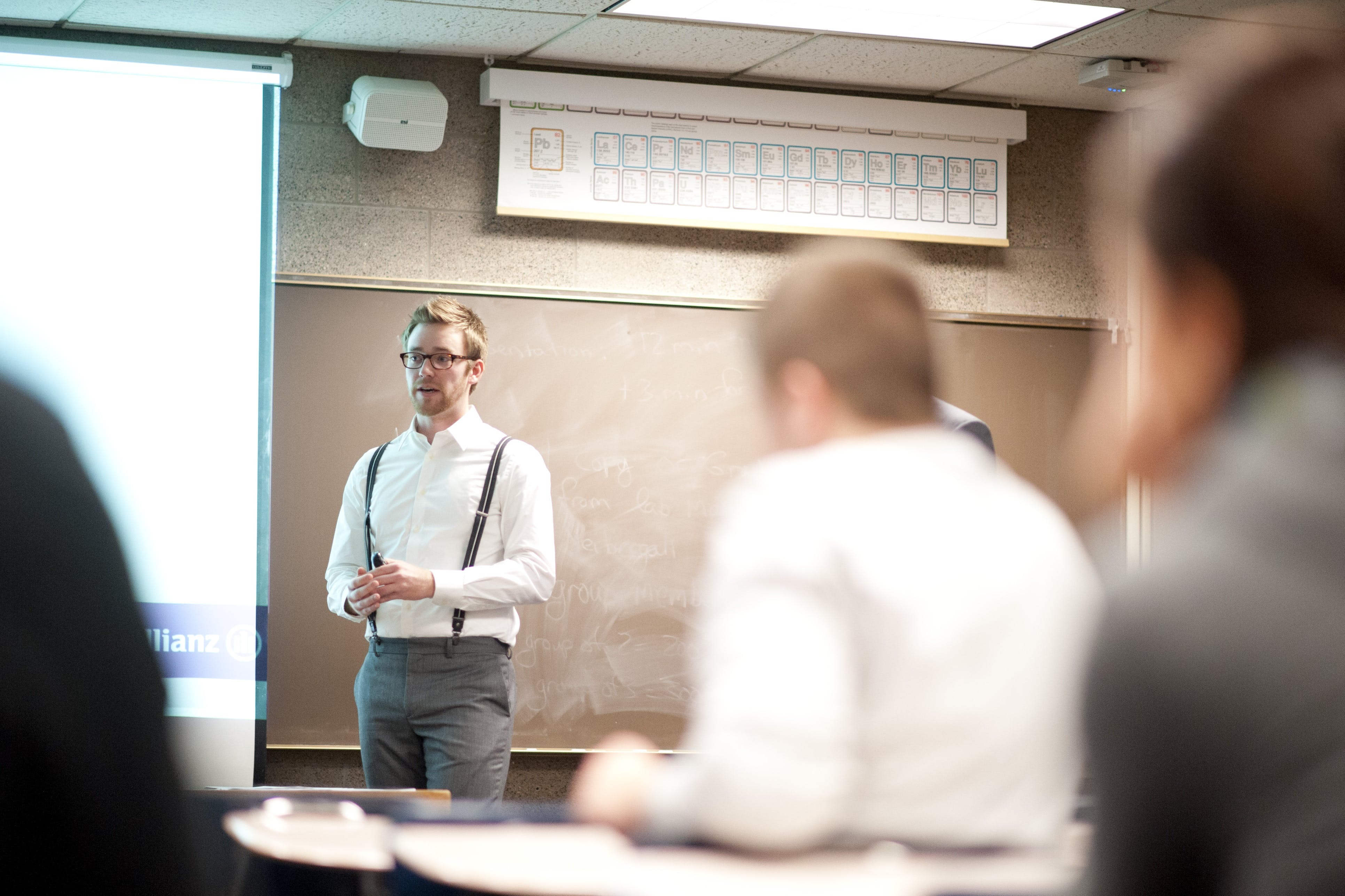 Student presenting to a classroom