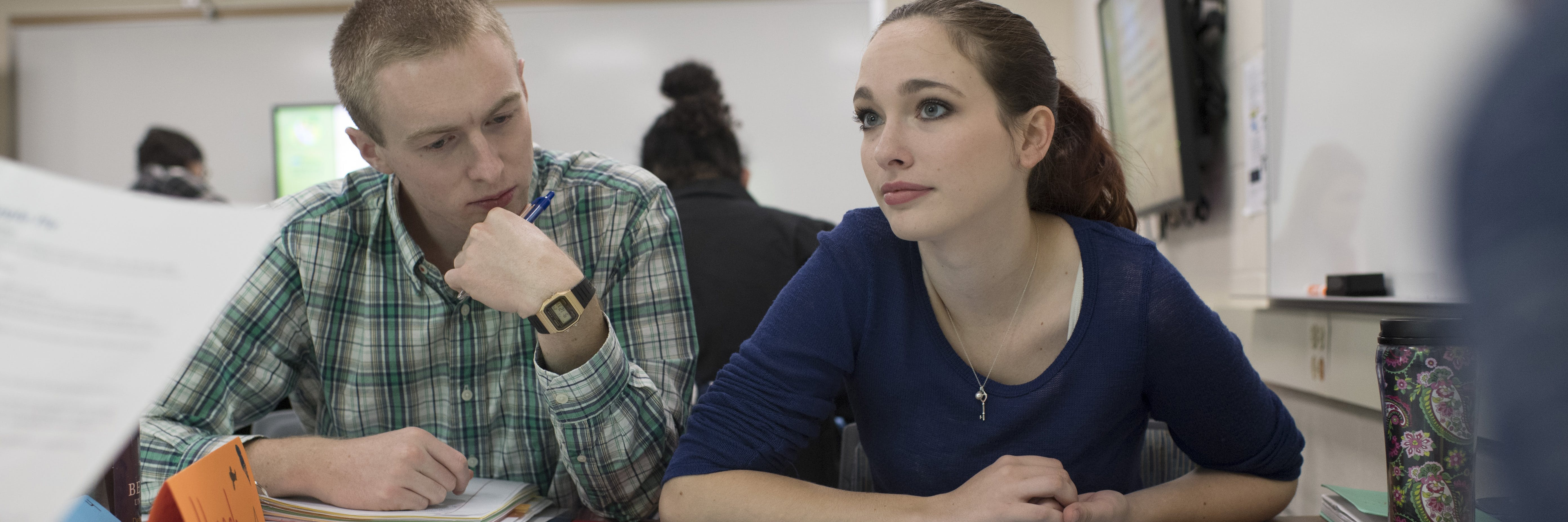 Students in the Education department work on a project