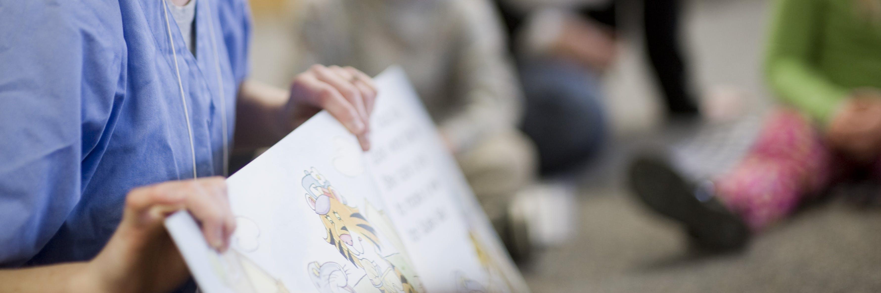 A student teacher reading