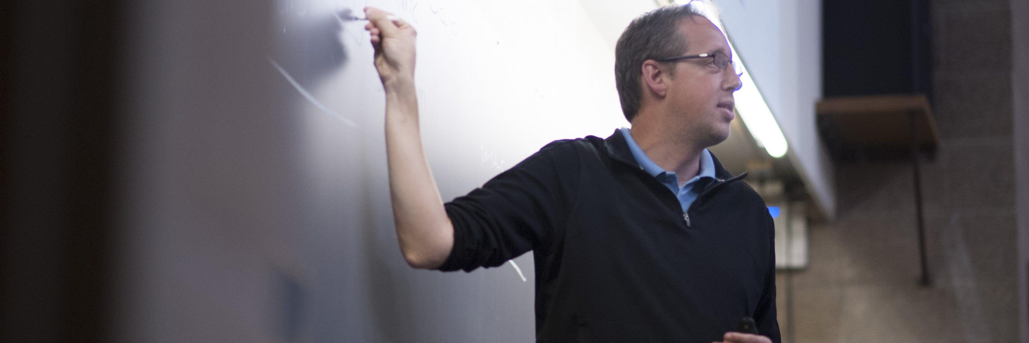 A professor teaching