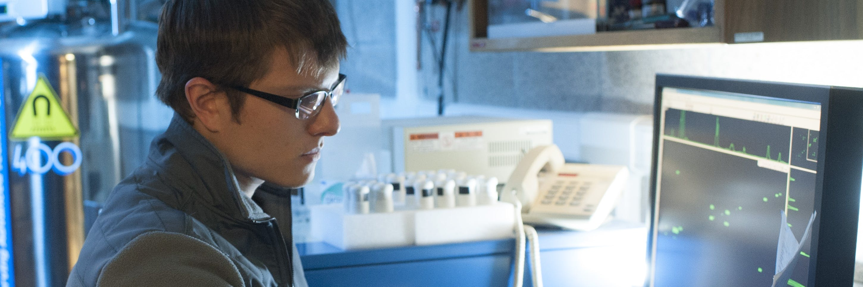 Physics student working in the lab