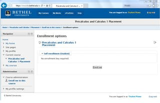 Self-enrollment Moodle course for Precalculus and Calculus Placement Testing
