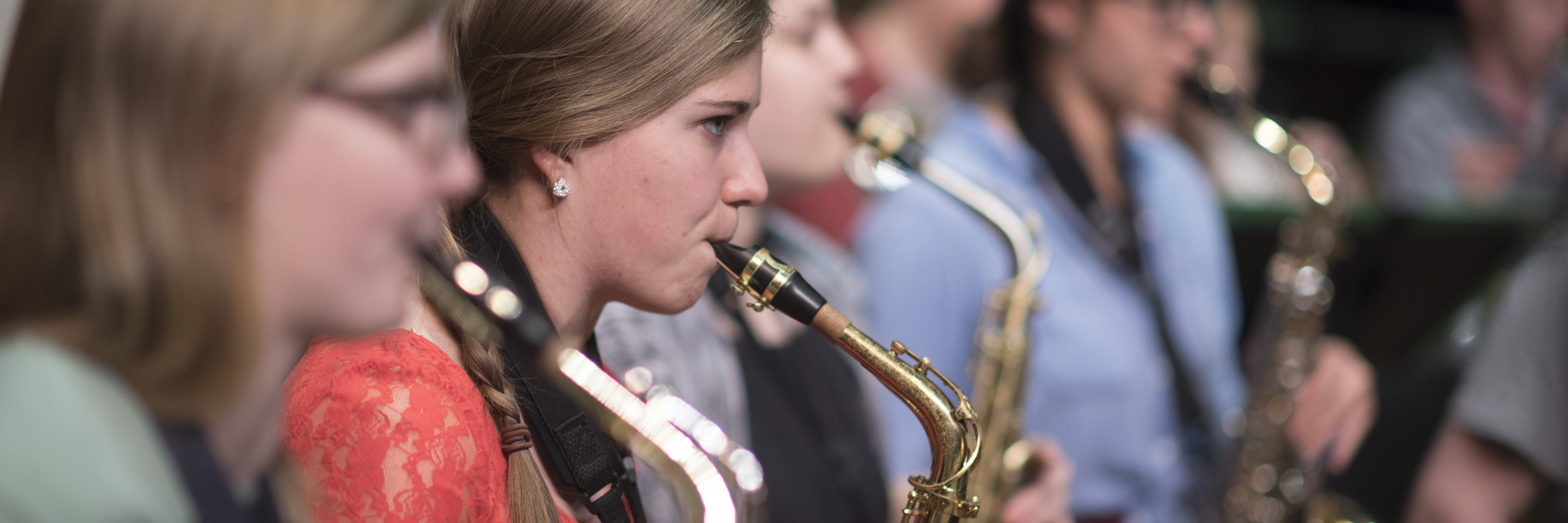 Students playing the saxophone