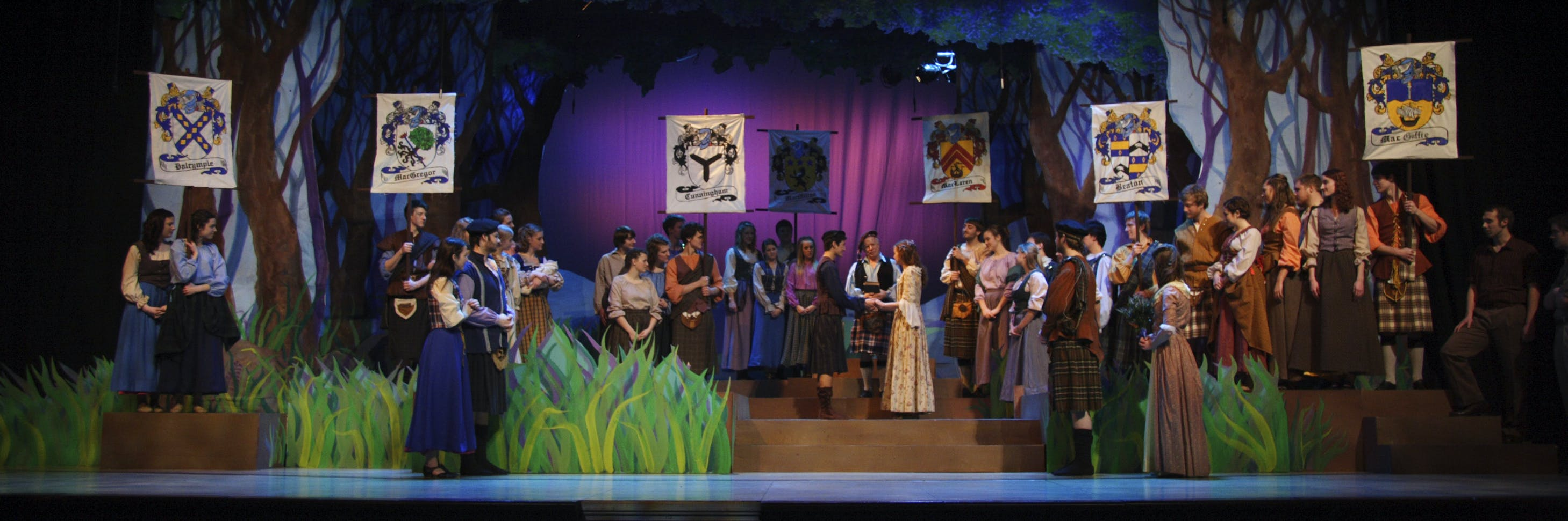 Students on-stage during a theatre production at Bethel University