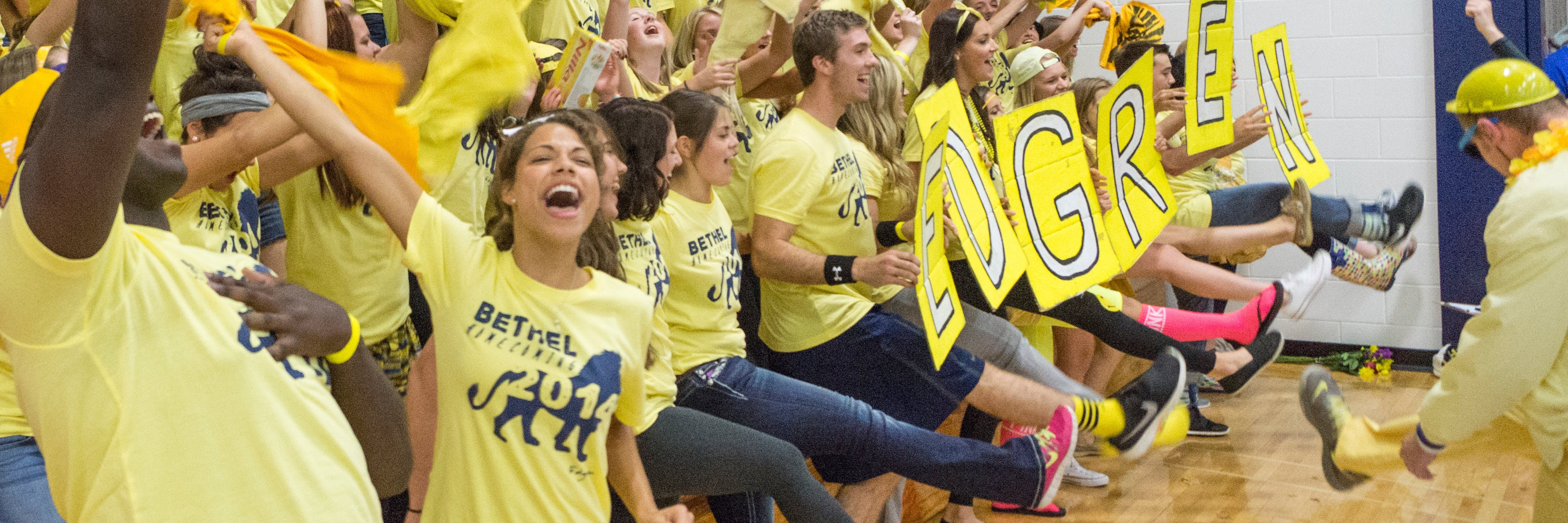 Students competing in the annual homecoming cheer