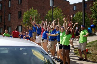 Greeting new Bethel students at Welcome Week Move-In